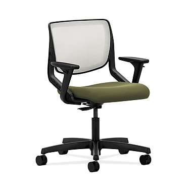 HON® Motivate Task Chair, Fog ilira®-stretch Back, Adjustable Arms, Olivine Fabric