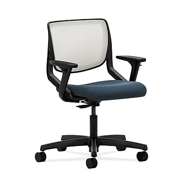HON® Motivate Task Chair, Fog ilira®-stretch Back, Adjustable Arms, Cerulean Fabric
