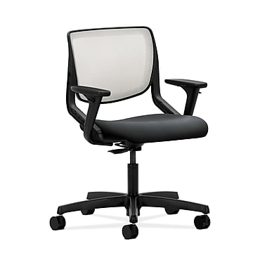 HON® Motivate Task Chair, Fog ilira®-stretch Back, Adjustable Arms, Onyx Fabric