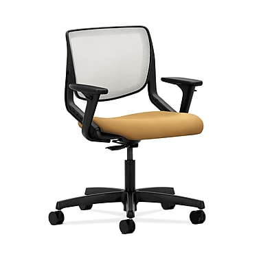 HON® Motivate Task Chair, Fog ilira®-stretch Back, Adjustable Arms, Mustard Fabric