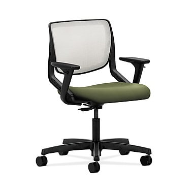 HON® Motivate Task Chair, Fog ilira®-stretch Back, Adjustable Arms, Clover Fabric