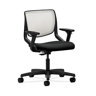 HON® Motivate Task Chair, Fog ilira®-stretch Back, Adjustable Arms, Tectonic Black Fabric