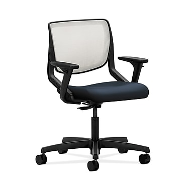 HON® Motivate Task Chair, Fog ilira®-stretch Back, Adjustable Arms, Navy Fabric