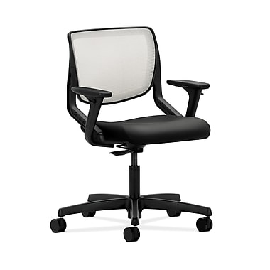 HON® Motivate Task Chair, Fog ilira®-stretch Back, Adjustable Arms, Whisper Vinyl Black