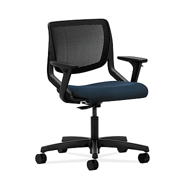 HON® Motivate Task Chair, Black ilira®-stretch Back, Adjustable Arms, Confetti Blue Fabric