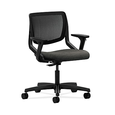 HON® Motivate Task Chair, Black ilira®-stretch Back, Adjustable Arms, Attire Onyx Fabric