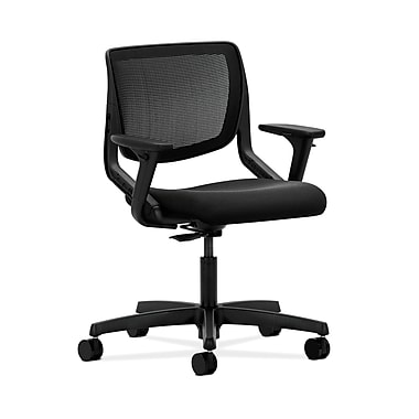 HON® Motivate Task Chair, Black ilira®-stretch Back, Adjustable Arms, Centurion Black Fabric
