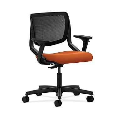 HON® Motivate Task Chair, Black ilira®-stretch Back, Adjustable Arms, Tangerine Fabric