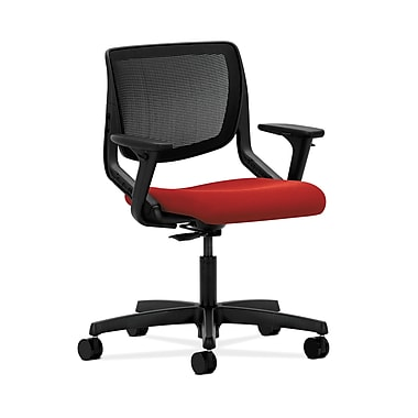HON® Motivate Task Chair, Black ilira®-stretch Back, Adjustable Arms, Tomato Fabric
