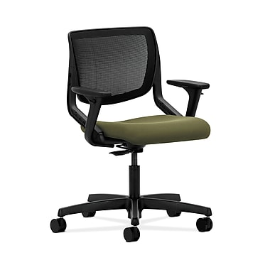 HON® Motivate Task Chair, Black ilira®-stretch Back, Adjustable Arms, Olivine Fabric
