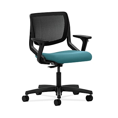 HON® Motivate Task Chair, Black ilira®-stretch Back, Adjustable Arms, Glacier Fabric