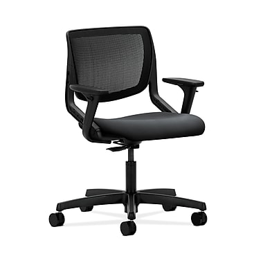 HON® Motivate Task Chair, Black ilira®-stretch Back, Adjustable Arms, Inertia Onyx Fabric