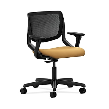 HON® Motivate Task Chair, Black ilira®-stretch Back, Adjustable Arms, Mustard Fabric