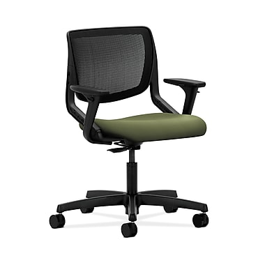 HON® Motivate Task Chair, Black ilira®-stretch Back, Adjustable Arms, Clover Fabric