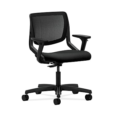 HON® Motivate Task Chair, Black ilira®-stretch Back, Adjustable Arms, Tectonic Black Fabric