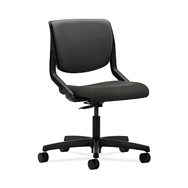 HON® Motivate Task Chair, Upholstered Back, Onyx Shell, Grey Fabric