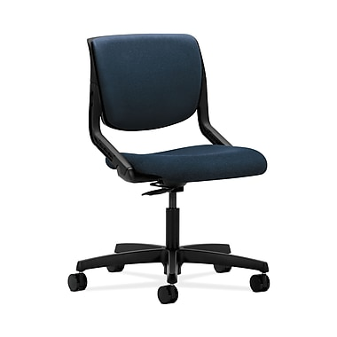 HON® Motivate Task Chair, Upholstered Back, Onyx Shell, Confetti Blue Fabric