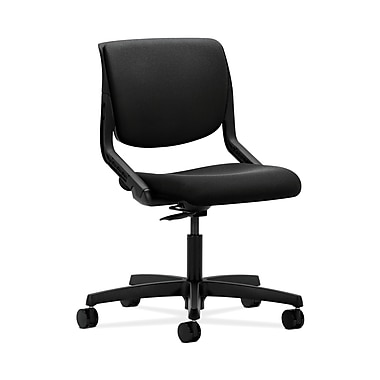 HON® Motivate Task Chair, Upholstered Back, Onyx Shell, Centurion Black Fabric