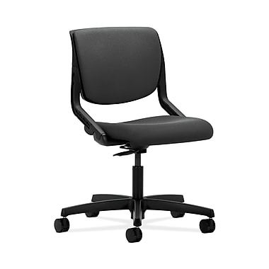 HON® Motivate Task Chair, Upholstered Back, Onyx Shell, Iron Ore Fabric