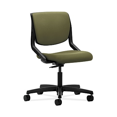 HON® Motivate Task Chair, Upholstered Back, Onyx Shell, Olivine Fabric