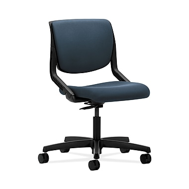 HON® Motivate Task Chair, Upholstered Back, Onyx Shell, Cerulean Fabric