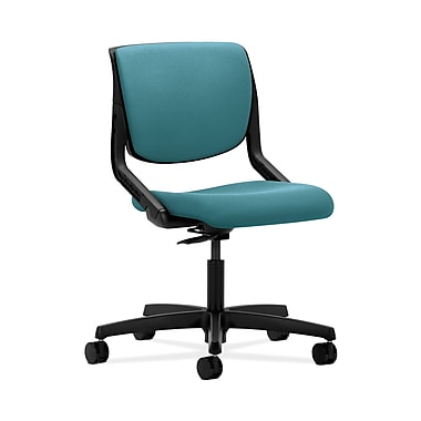 HON® Motivate Task Chair, Upholstered Back, Onyx Shell, Glacier Fabric