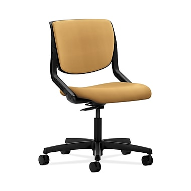 HON® Motivate Task Chair, Upholstered Back, Onyx Shell, Mustard Fabric