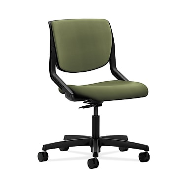 HON® Motivate Task Chair, Upholstered Back, Onyx Shell, Clover Fabric