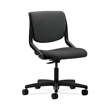 HON® Motivate Task Chair, Upholstered Back, Onyx Shell, Tectonic Charcoal Fabric