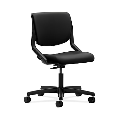 HON® Motivate Task Chair, Upholstered Back, Onyx Shell, Contourett Polyurethane Black