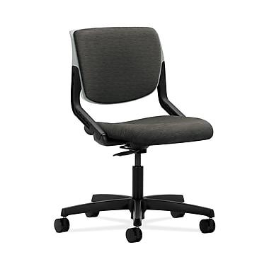 HON® Motivate Task Chair, Upholstered Back, Platinum Shell, Attire Onyx Fabric