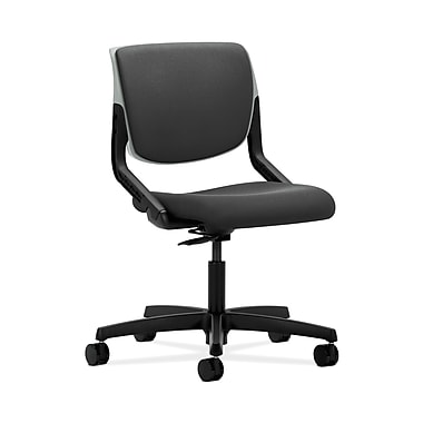 HON® Motivate Task Chair, Upholstered Back, Platinum Shell, Iron Ore Fabric