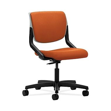 HON® Motivate Task Chair, Upholstered Back, Platinum Shell, Tangerine Fabric