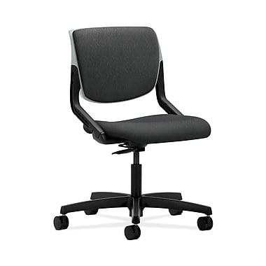 HON® Motivate Task Chair, Upholstered Back, Platinum Shell, Tectonic Charcoal Fabric