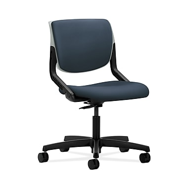 HON® Motivate Task Chair, Upholstered Back, Platinum Shell, Silvertex Vinyl Jet