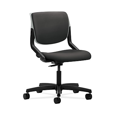 HON® Motivate Task Chair, Upholstered Back, Platinum Shell, Carbon Fabric