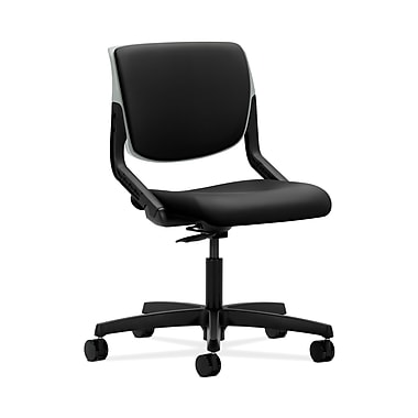 HON® Motivate Task Chair, Upholstered Back, Platinum Shell, Contourett Polyurethane Black