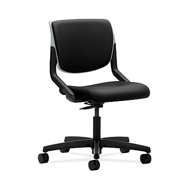 HON® Motivate Task Chair, Upholstered Back, Platinum Shell, Whisper Vinyl Black