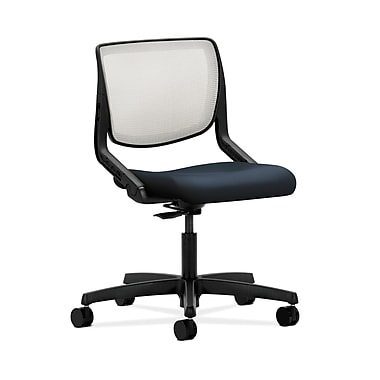 HON® Motivate Task Chair, Fog ilira®-stretch Back, Navy Fabric