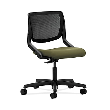 HON® Motivate Task Chair, Black ilira®-stretch Back, Olivine Fabric