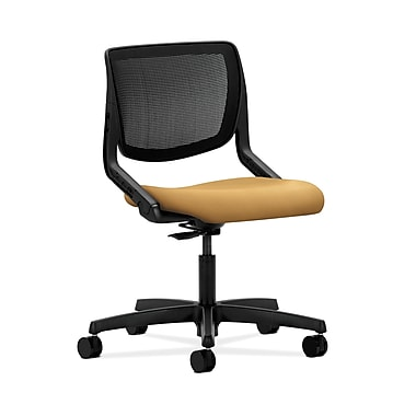 HON® Motivate Task Chair, Black ilira®-stretch Back, Mustard Fabric