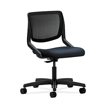 HON® Motivate Task Chair, Knit Mesh Back, Onyx Shell, Navy Fabric