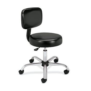 HON Medical Stool with Back, Black Vinyl