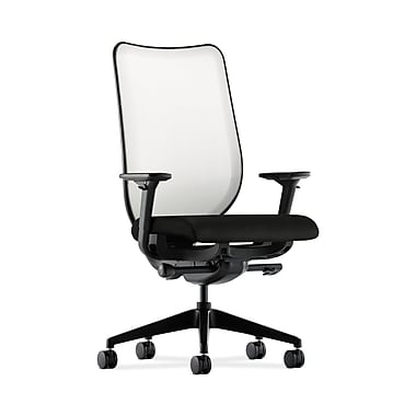 HON® Nucleus Task Chair, Fog ilira®-stretch Back, Synchro-Tilt, Seat Glide, Adjustable Arms, Black Fabric