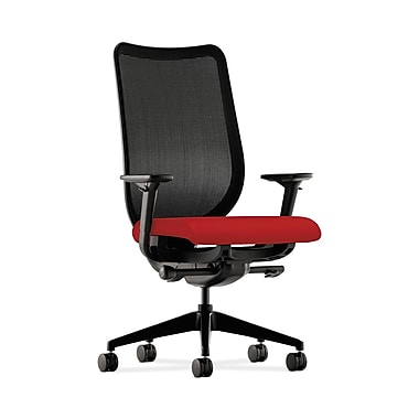 HON® Nucleus Task Chair, Black ilira®-stretch Back, Synchro-Tilt, Seat Glide, Adjustable Arms, Tomato Fabric