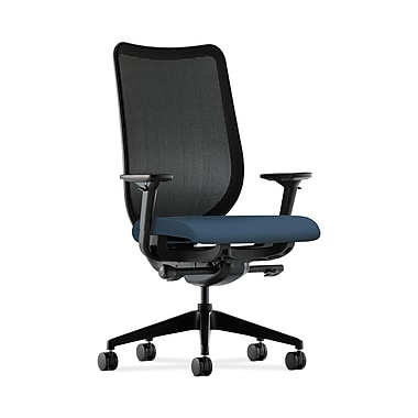 HON® Nucleus Task Chair, Black ilira®-stretch Back, Synchro-Tilt, Seat Glide, Adjustable Arms, Silvertex Vinyl Jet