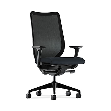 HON® Nucleus Task Chair, Black ilira®-stretch Back, Synchro-Tilt, Seat Glide, Adjustable Arms, Navy Fabric