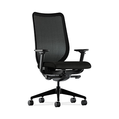HON® Nucleus Task Chair, Black ilira®-stretch Back, Synchro-Tilt, Seat Glide, Adjustable Arms, Whisper Vinyl Black