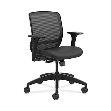 HON® Quotient™ Mesh Back Task Chair, Adjustable Arms, Black Mesh/Black Fabric