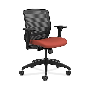 HON® Quotient™ Mesh Back Task Chair, Adjustable Arms, Black Mesh/Poppy Fabric